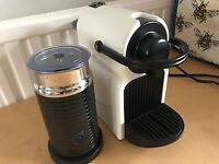 Nespresso Inissia Coffee Machine & Nespresso Aeroccino Milk Frother Black Standalone Unit