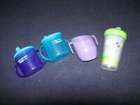 3 sippy cups, a diody cup and a plate - Free