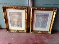 2 High Quality Gilded Fame with sketches of Greek Earns