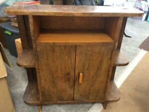 old wood display shelves and cabinet