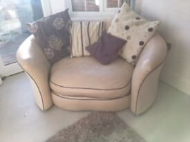 Two leather Love Chairs memory foam base and 4 scatter cushions two large, two small