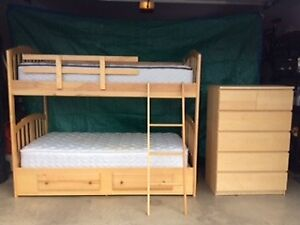 Solid Birch Bunk Beds and Dresser