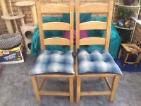 Four Quality Beech Dining chairs REDUCED to sell this weekend.......