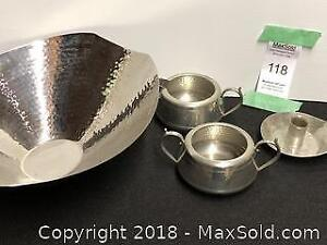 Collection of hammered pewter & stainless steel. A