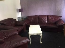 Leather Sofa, Two Chairs and Pouffe
