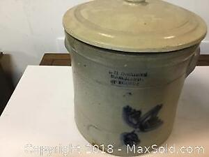 Blue Coloured Signed Covered Large Repaired Crock
