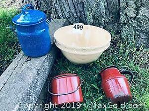 Antique Mixing Bowl and Enamel Ware Pieces