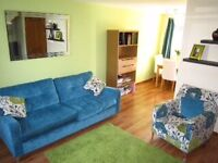 Beautiful Teal sofa and armchair with cushions
