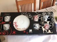 Beautiful set of coffee cups and saucers