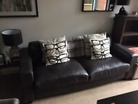 Comfy 3 seat brown leather sofa for sale - collection only - 50.00