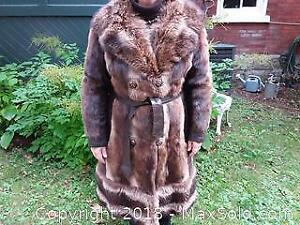 fur coat with leather with leather trim