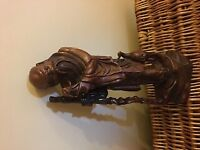 Antique Chinese Hand Carved Wooden Figure of Old Man with a Staff.