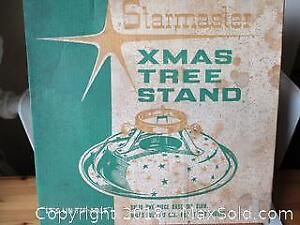 Vintage 1950's Metal Tree Stand In The Original Box.