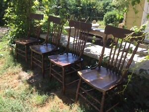 4 PRESSED BACK CHAIRS