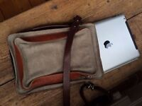 Leather and fabric shoulder bag - perfect condition - ipad size