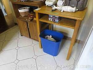Microwave Stand And Vintage School Desk - C