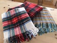 Three 100% Wool Tartan Blankets/Throws - £25 for all three of them.