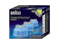 Brand New - Braun CCR3 Clean and Renew Mens Shaver Hygienic Cleaning Refill Cartridge 3 Pack