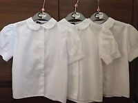 GIRLS SCHOOL UNIFORM BUNDLE WHITE BLOUSES/SKIRTS/PINAFORE DRESSES & TIGHTS