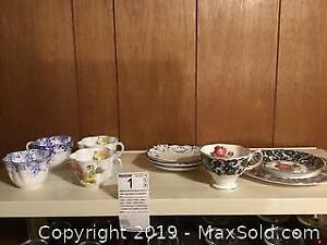 Shelley And Royal Albert Cups And Saucers A