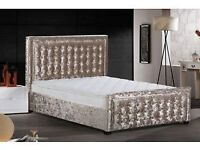 Delivery 7 Days A week BRANDNEW Hig Quality Luxury Crushed Velvet Double Bed KingBed Pay on Delivery