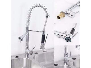BRAND NEW BOXED Double Head Monobloc Pull Out Spray Kitchen Spray Tap Swivel Mixer Faucet