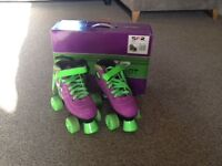 Girls Size 3 SFR Vision GT Purple & Green Quad Skates roller boots - Boxed