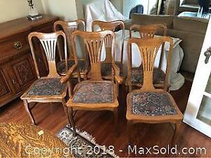 Six Antique Oak Dining Chairs B