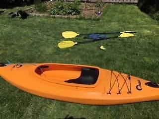 Seak 1 person sit in Kayak (2 Kayaks) with paddles