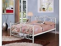5FT KING SIZE WHITE METAL BED FRAME WITH CRYSTAL FINIALS - NEVER ASSEMBLED