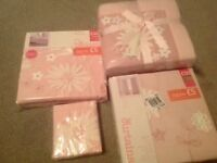 Next Pink Flower Curtains, Duvet cover,pillow case and throw