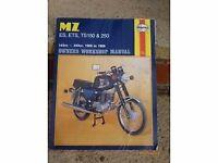 """""""MZ"""" MOTORBIKE HAYNES WORKSHOP MANUAL , COVERS ETZ , 150, 250 ES TS MODELS"""