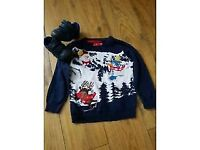 Clarks kids flashing shoes size 4 and Christmas jumper 18-24 months