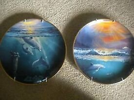 LIMITED EDITION FRANKLIN MINT DOLPHIN PLATES X 2
