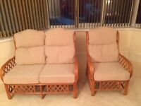 Bamboo framed 2 Seater settee complete with 2 single chairs for conservatory