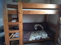 Solid wood high sleeper single Stompa bed, double futon (2nd bed) desk and drawers