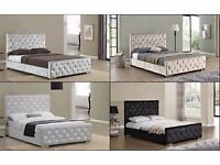FREE Delivery Today BRANDNEW Top Quality Crushed Velvet Bed Black Grey Champagne Huge Savings