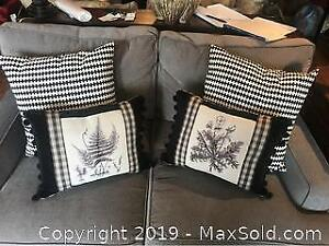 Black and white fern pillows