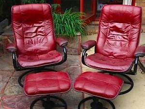 Distinctive leather swivel armchairs Princes Hill Melbourne City Preview