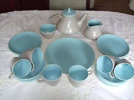 Poole Pottery Vintage 1960's twin tone dove grey & sky blue Tea set