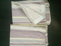 "Laura Ashley Curtains ...66"" wide x 65"" drop,lined, Eaton Amethyst stripe, as new condition"