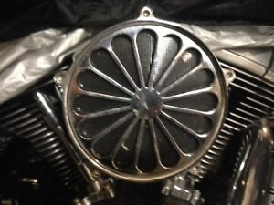 Chrome Super Spoke Wheel Air cleaner with Chrome Bracket