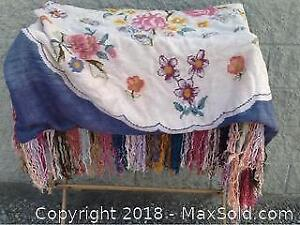Vintage Clothes Rack And Colourful Blanket