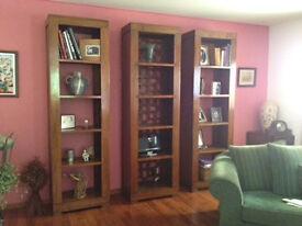 Decorative Shelves- Set of 3 Beautiful Decorative Dark Wood Shelf Units. Over £1500 new.