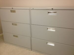 2 three drawer Lateral File cabinet grey