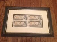Framed Sheet of $1 Bills