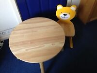 Toddler's pine table and chair with teddy face