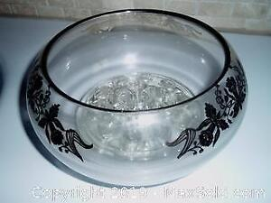 CRYSTAL AND SILVER BOWL WITH FLOWER HOLDER
