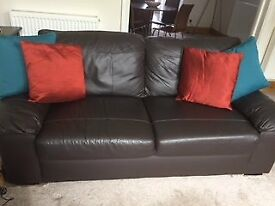 Chocolate Brown real Leather Sofa. Excellent condition. Fixed cushions. 3 seater.
