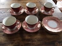 Five very pretty vintage china cups and plates